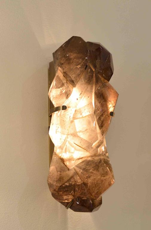 Rock Crystal Wall Sconces : Pair of Abstract Form Smoky Brown Rock Crystal Quartz Wall Sconces For Sale at 1stdibs