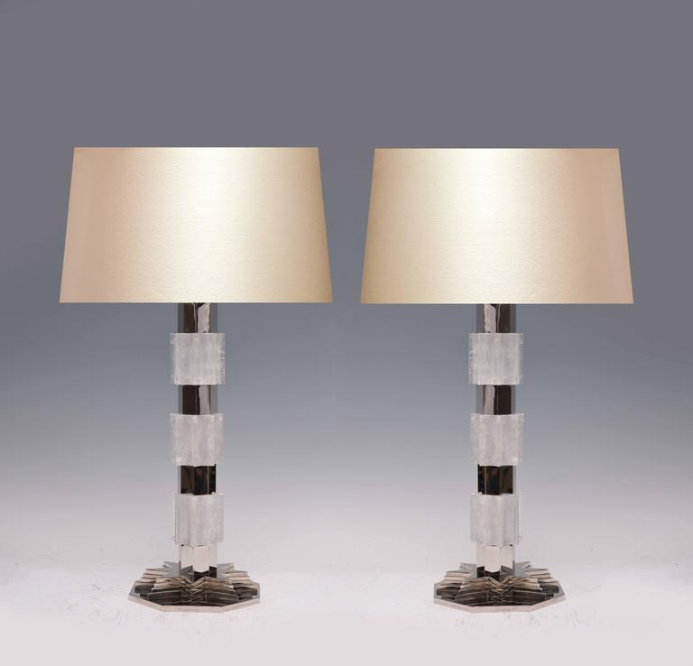 pair of metropolitan rock crystal quartz lamps for sale at 1stdibs. Black Bedroom Furniture Sets. Home Design Ideas