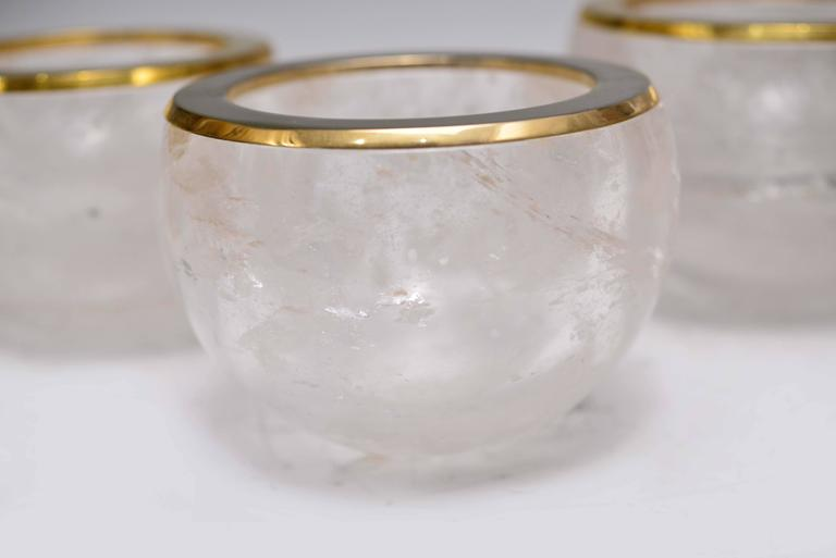 Contemporary Group of Three Rock Crystal Quartz Bowls For Sale