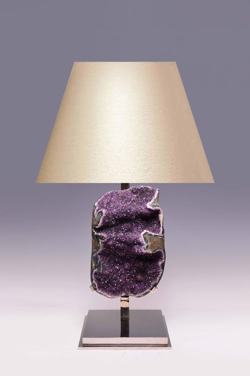 Natural amethyst rock crystal quartz, mounted as a lamp, created by Phoenix Gallery, NYC. To the amethyst: 19.75