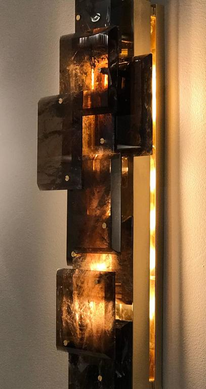 Pair of Modern Smoky Brown Rock Crystal Quartz Sconces 2
