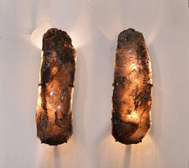 Pair of Natural Form Smoky Brown Rock Crystal Quartz Sconces 2