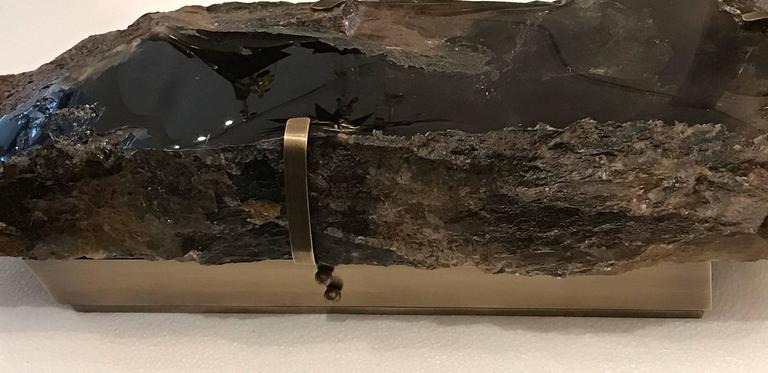 Pair of Natural Form Smoky Brown Rock Crystal Quartz Sconces 6