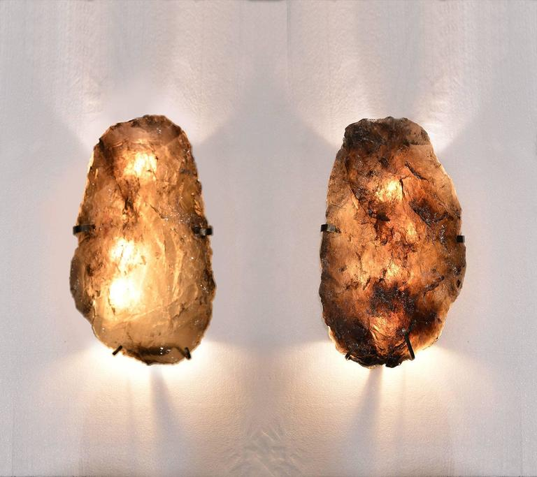 Pair of Natural Form Smoky Brown Rock Crystal Sconces 2