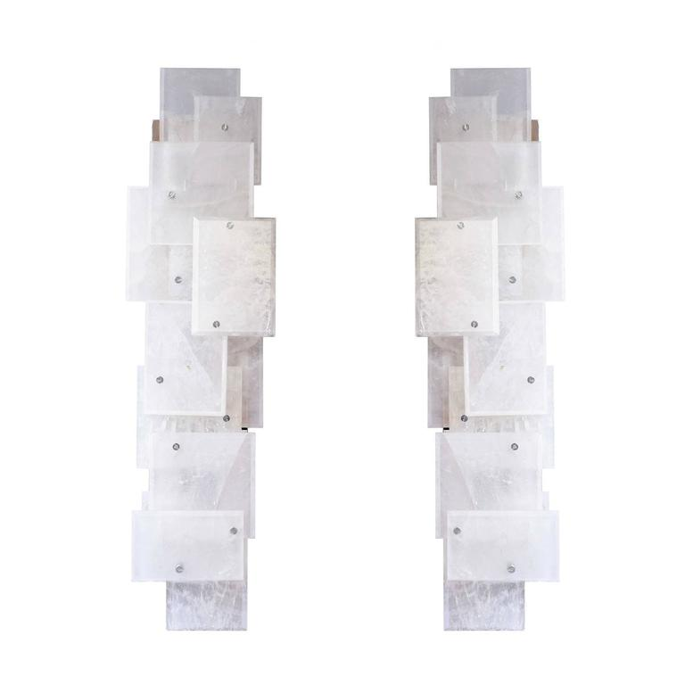 Pair of Modern Luxury Rock Crystal Quartz Sconces In Excellent Condition For Sale In New York, NY