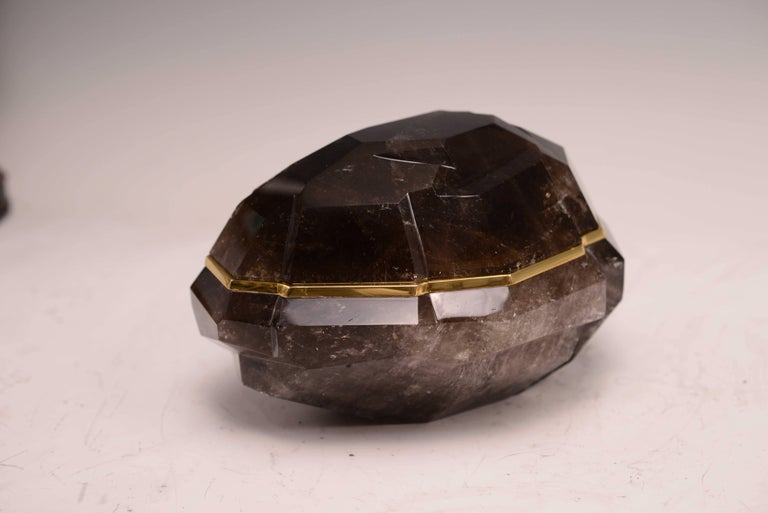 Dark brown rock crystal abstract form box with cover for for Dark brown landscape rock