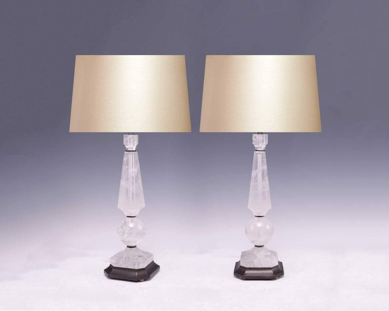 Elegant Form Rock Crystal Lamps With Antique Br Finish Bases Created By Phoenix Gallery