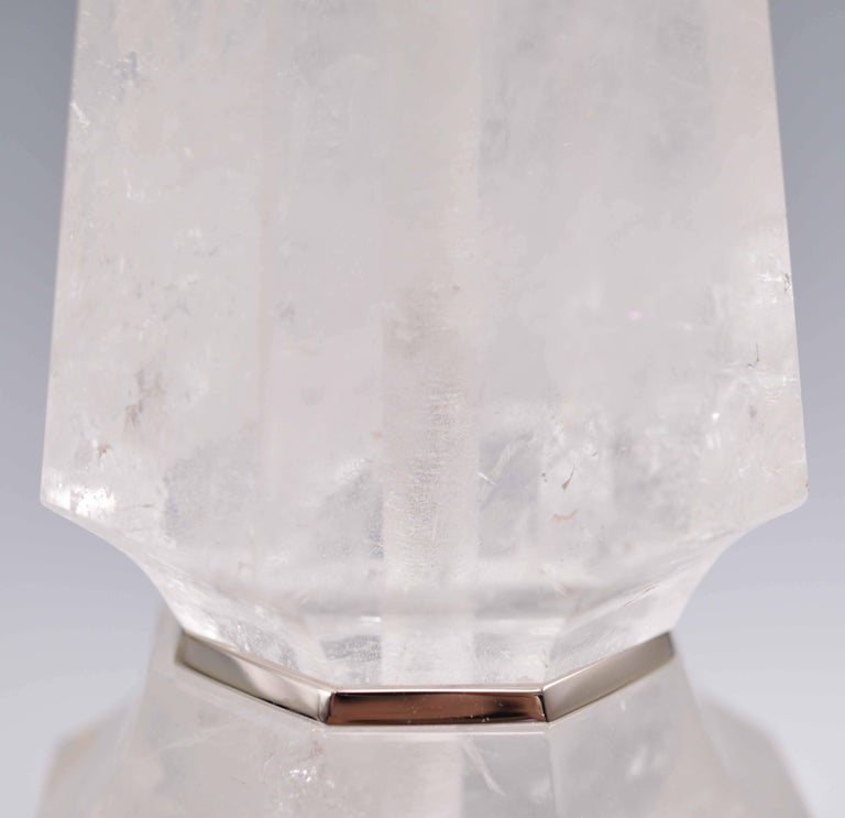 Pair of Elegant Rock Crystal Quartz Table Lamps In Excellent Condition For Sale In New York, NY