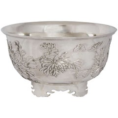 Chinese Export Silver Bowl, circa 1890 Made by Wang Hing