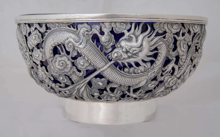 19th Century Chinese Export Silver Bowl For Sale
