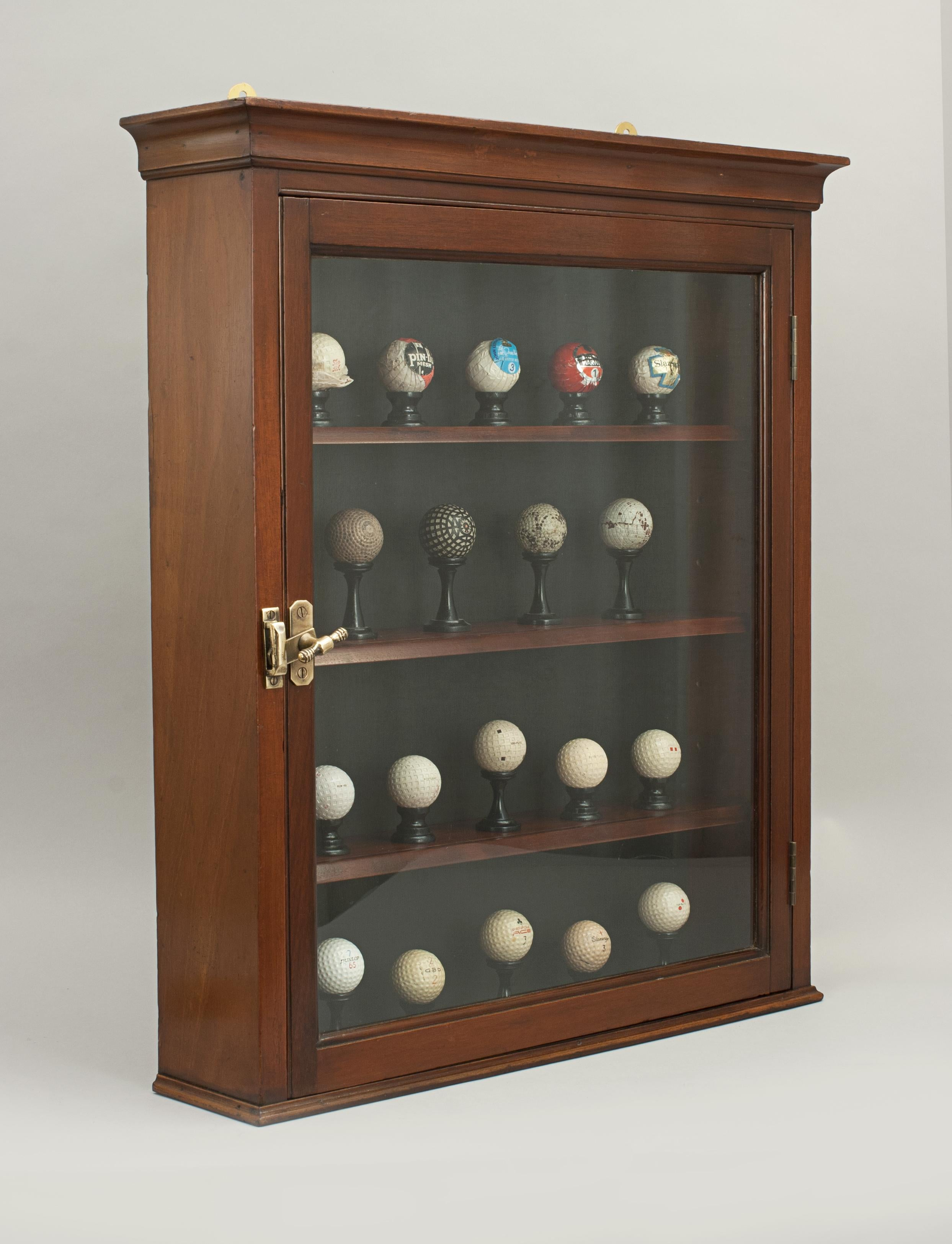 Antique Mahogany Golf Ball Display Cabinet. A Victorian Wall Display Cabinet  With A Display Of