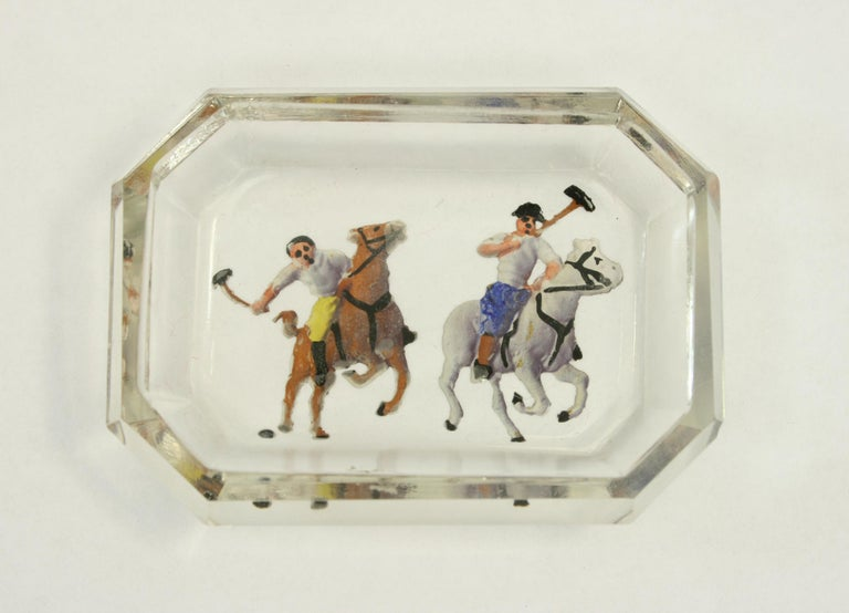 Antique / vintage polo glass pin tray, intaglio.