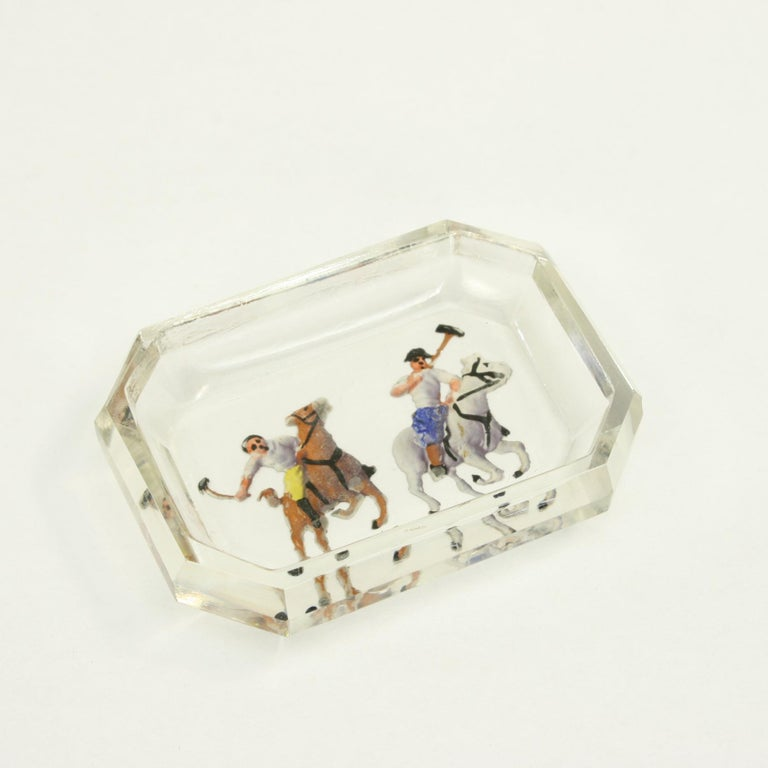 Sporting Art Polo Glass Pin Tray For Sale