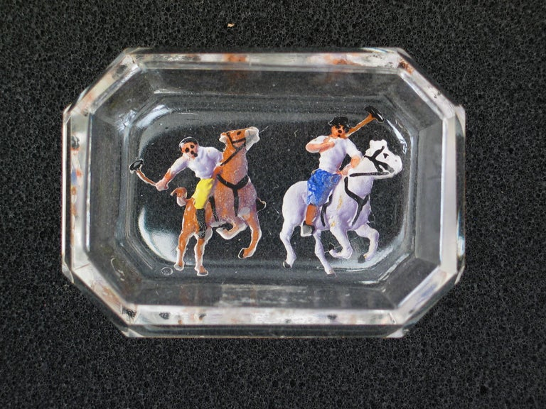English Polo Glass Pin Tray For Sale