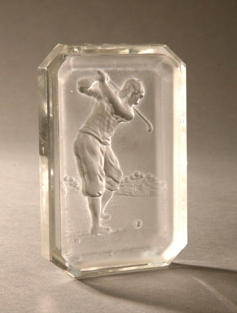 Vintage golf Baccarat glass pin tray.