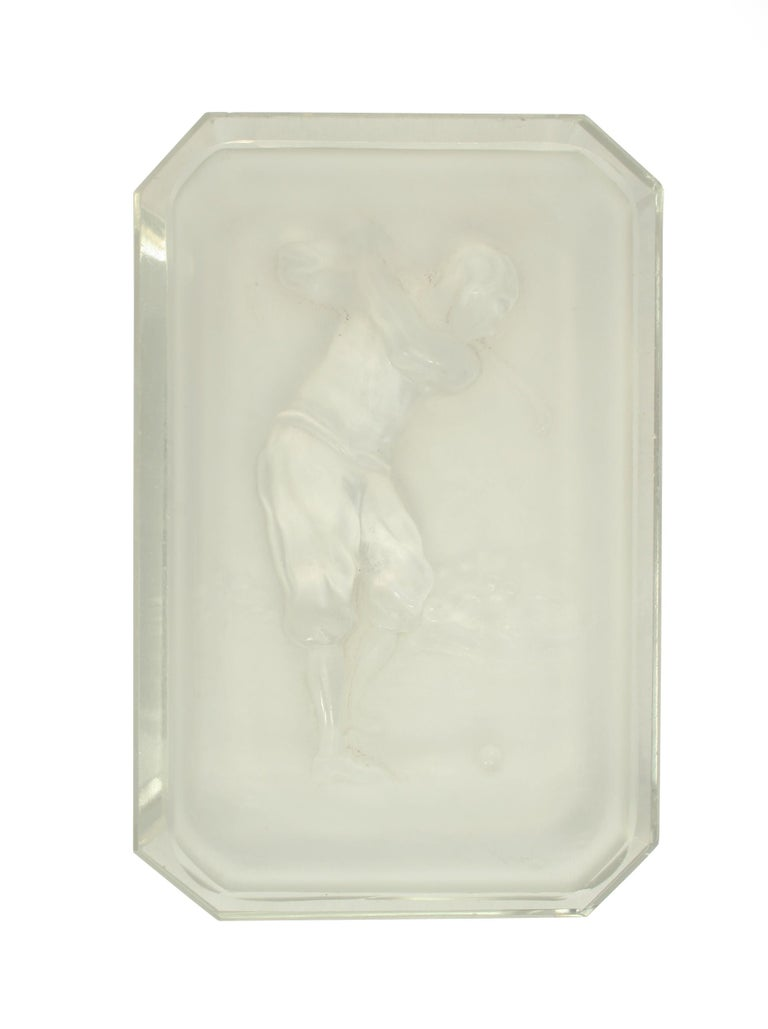 French Baccarat Golf Glass Pin Tray For Sale