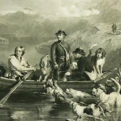 Antique Hunting Engraving, Crossing The Tay