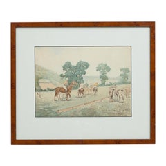 Early 20th Century Polo Watercolour by Charles Simpson