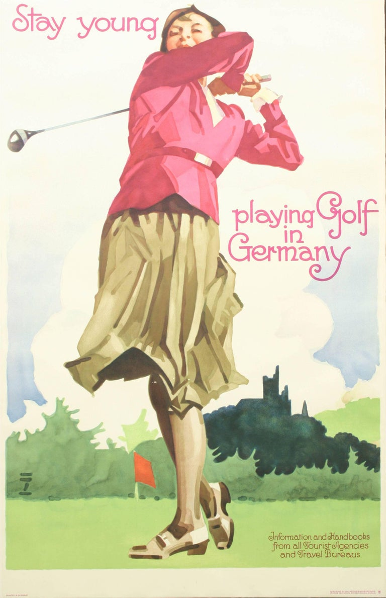 Golf poster, golf in Germany after Ludwig Hohlwein (1874-1949) A fine golf poster depicting a young lady in follow through position. Published by the Reichsbahnzentrale für den Deutschen Reiseverkehr, Berlin. Information and handbooks from all
