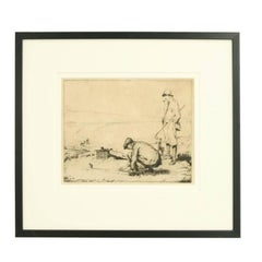 Golfing Picture, Dry Point Etching by John R. Barclay