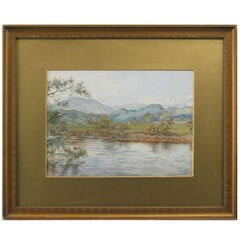 """Golf Watercolor """"On the Feish"""" Perthshire by V. Astley"""
