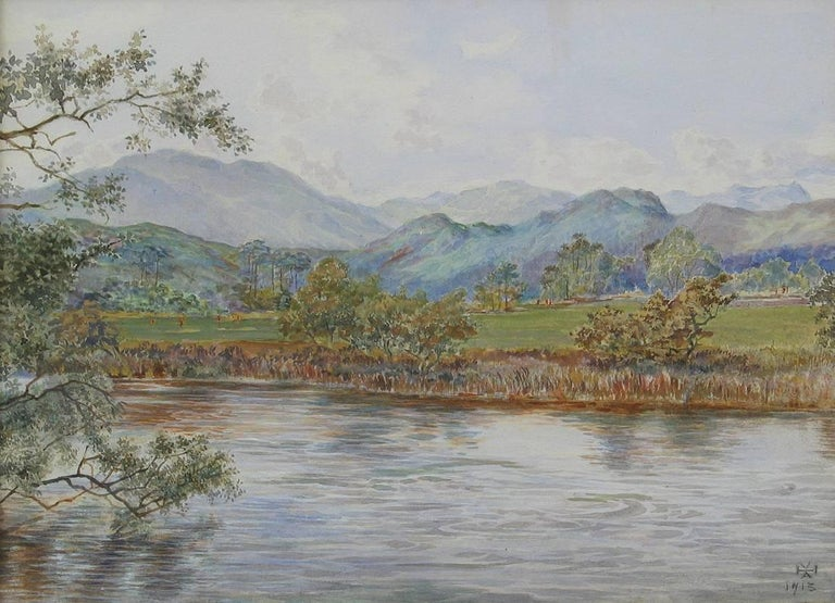 A charming watercolor of golfers on the golf course, possibly at Callander, with Ben Ledi beyond. This view typifies the glorious scenery of