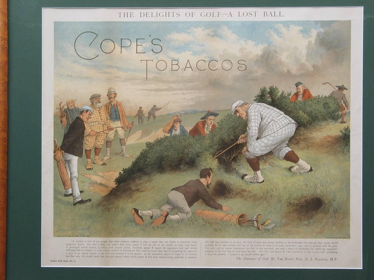 Antique golf print. Cope's tobacco chromolithograph by George Pipeshank. 'The Delights of Golf - A Lost Ball' taken from the fine promotional works for Copes, but featuring many of the great players and characters of the day including Tom Morris