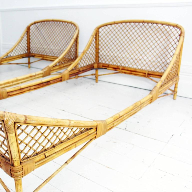 rattan bedroom furniture pair of 1950s mid century modern rattan and bamboo 13036