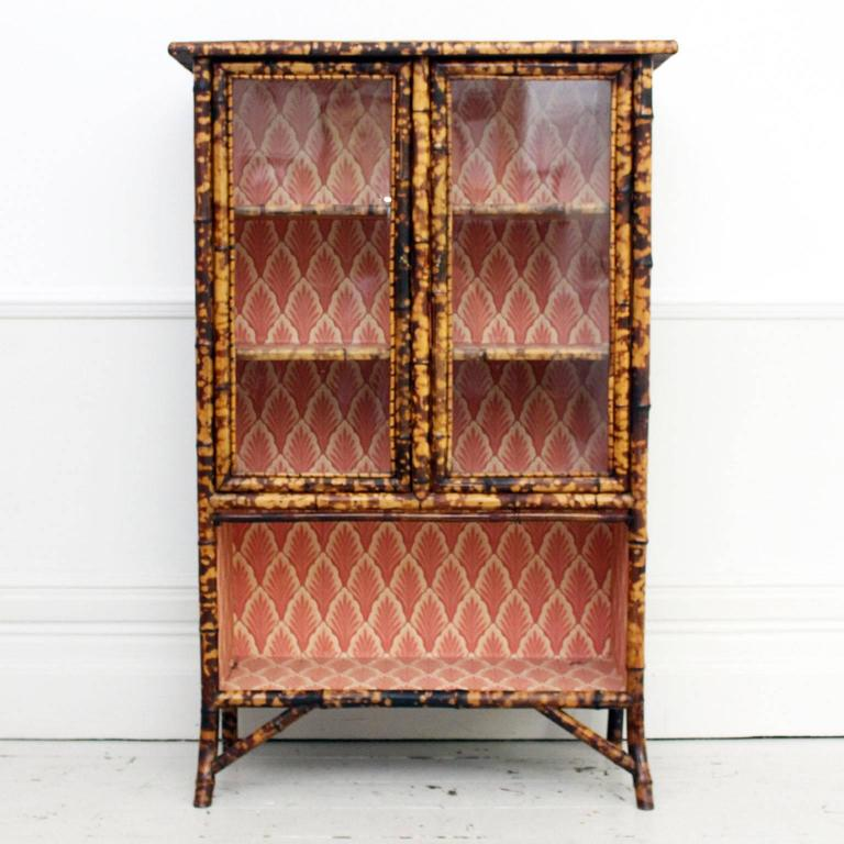 Antique Tiger Bamboo Glass Fronted Display Cabinet with Vintage Wallpaper 2 - Antique Tiger Bamboo Glass Fronted Display Cabinet With Vintage