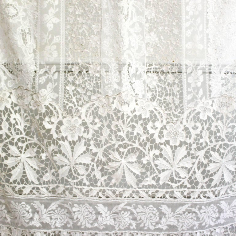 Napoleon III Large Pair of Ornate Antique Hand Made Ivory French Lace Curtains For Sale