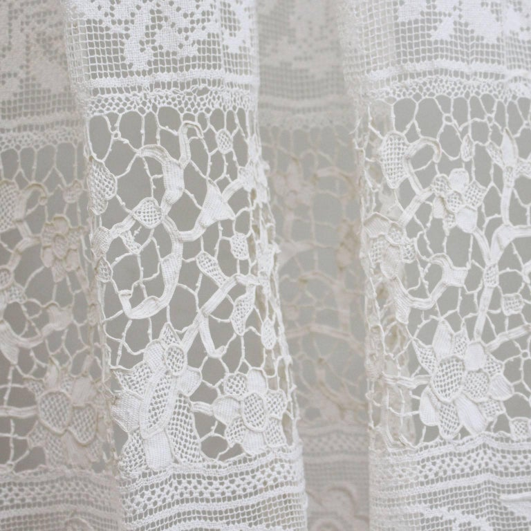 Late 19th Century Large Pair of Ornate Antique Hand Made Ivory French Lace Curtains For Sale