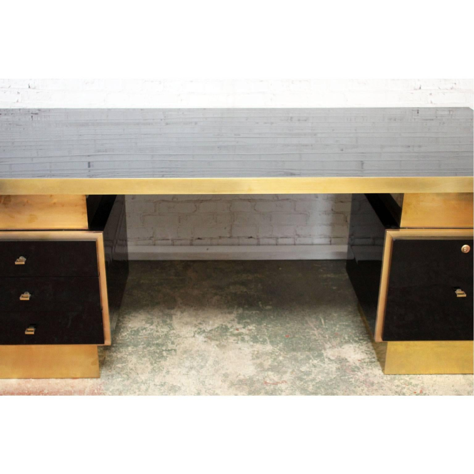 1970s Textured Black Lacquer And Brass Executive Desk By Guy Lefevre At 1stdibs