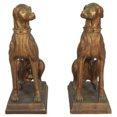 Pair of 1920s Art Deco Large Bronze Glazed Italian Terracotta Dog Statues