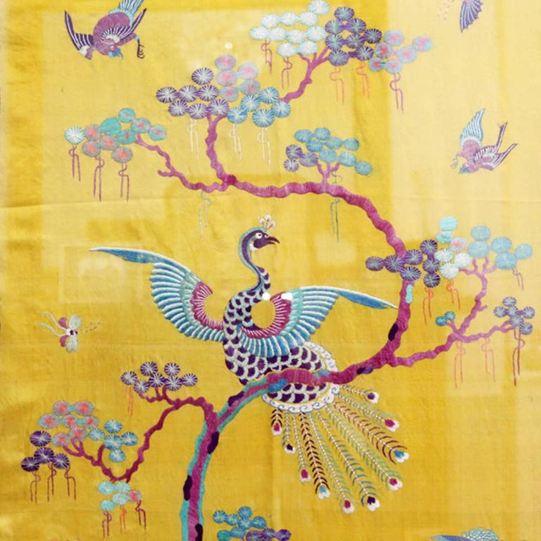 Rare 19th Century Yellow Silk Chinese Embroidered Panels with ...