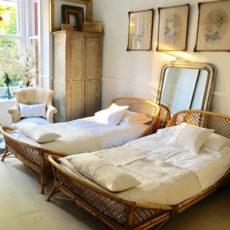Pair Of 1950s Mid Century Modern Rattan And Bamboo French Beds By Louis Sognot At 1stdibs