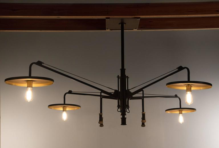 Luminaire, Monumental Custom Adjustable Four-Light Chandelier, circa 1980s 2