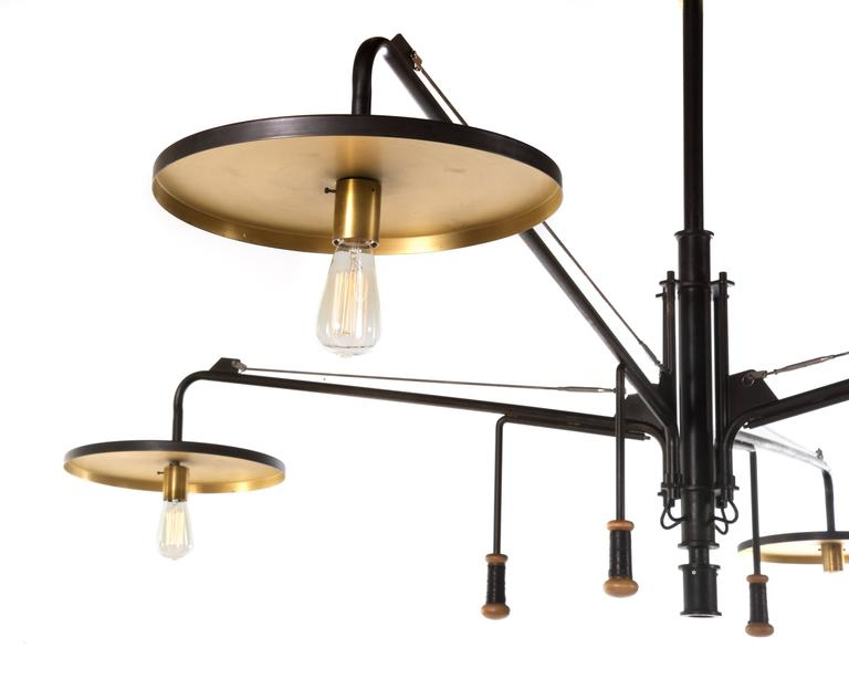 Luminaire, Monumental Custom Adjustable Four-Light Chandelier, circa 1980s 5