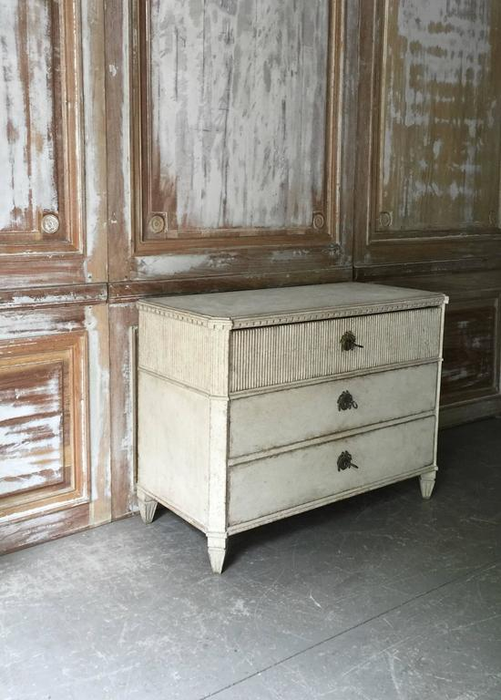 Hand-Carved Period Swedish Gustavian Chest of Drawers For Sale