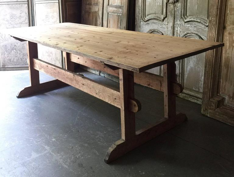 "Large early 19th century Swedish trestle table in style in ""Allmogestil,"