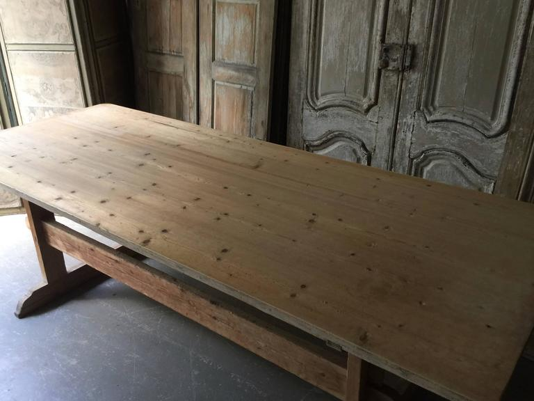 Hand-Crafted 19th Century Swedish Long Trestle Table For Sale
