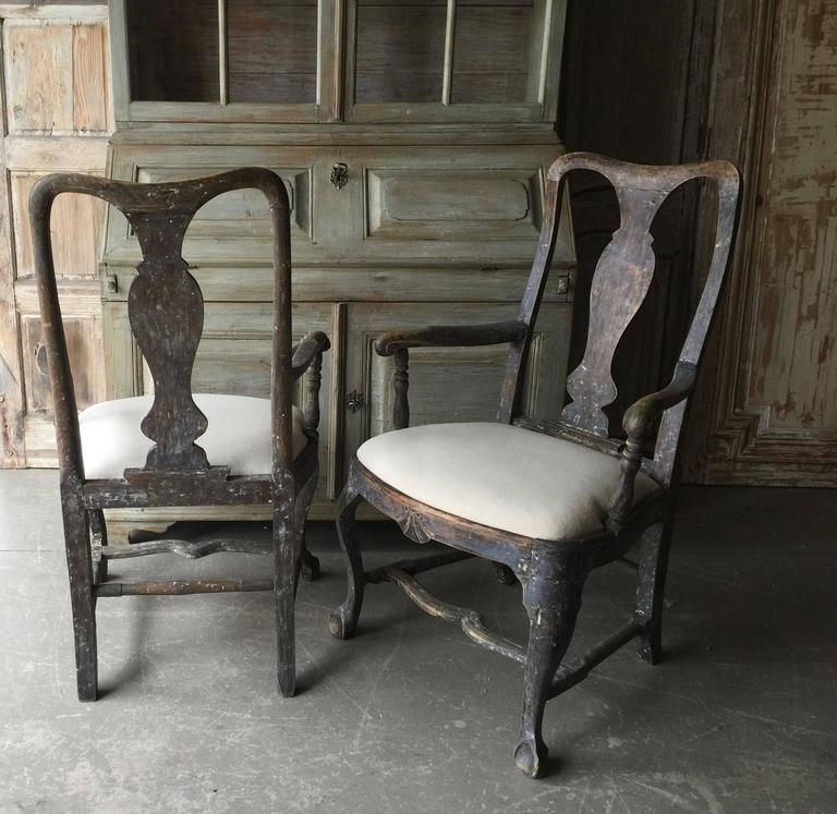 Pair of 18th Century Swedish Period Rococo Armchairs 3
