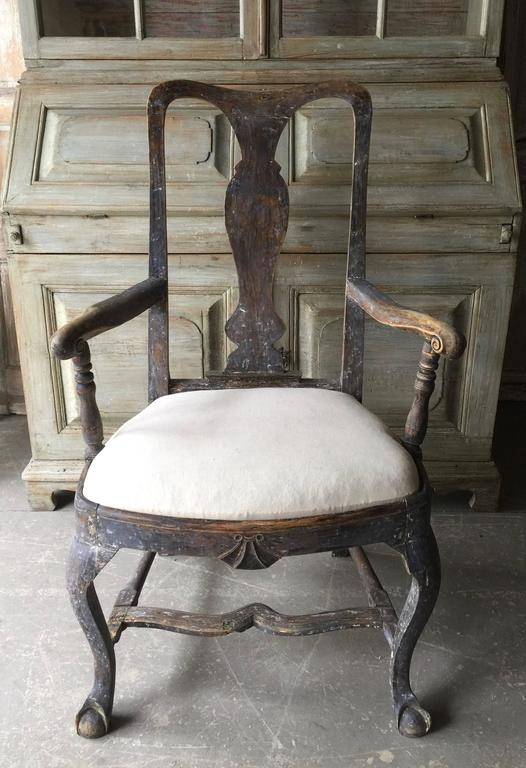 Pair of 18th Century Swedish Period Rococo Armchairs 4