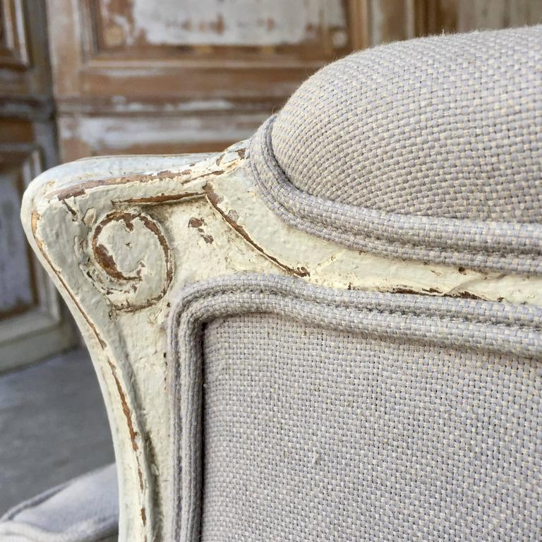 19th Century Pair of Louis XVI Style Painted Bergères For Sale