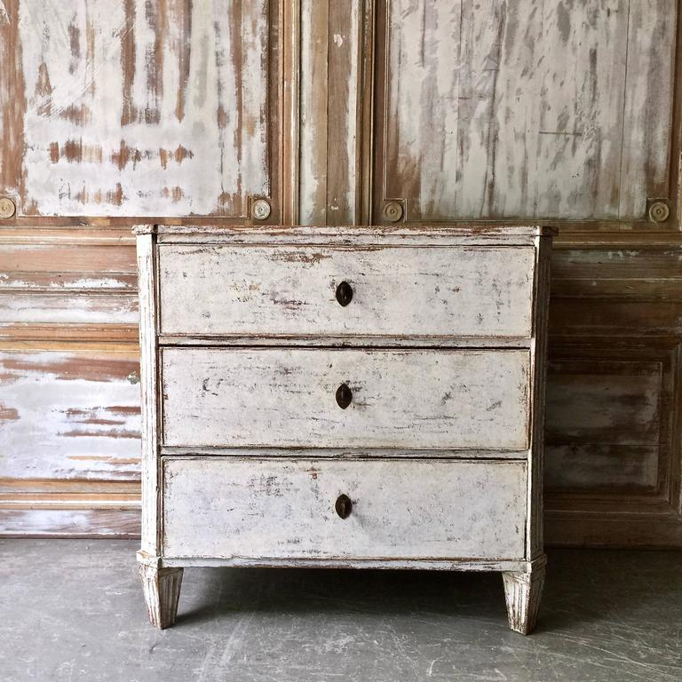 19th Century Swedish Gustavian Chest of Drawers with Fall-Front Top Drawer 2