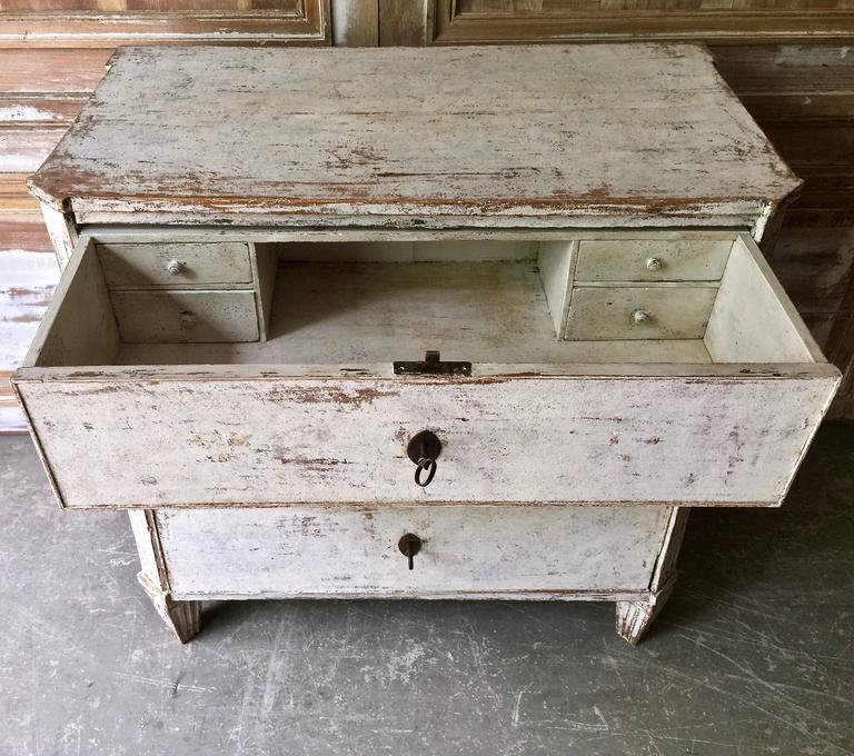 19th Century Swedish Gustavian Chest of Drawers with Fall-Front Top Drawer 3