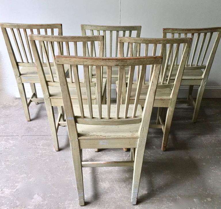 Hand-Crafted Set of Six Swedish 19th Century Side Chairs For Sale