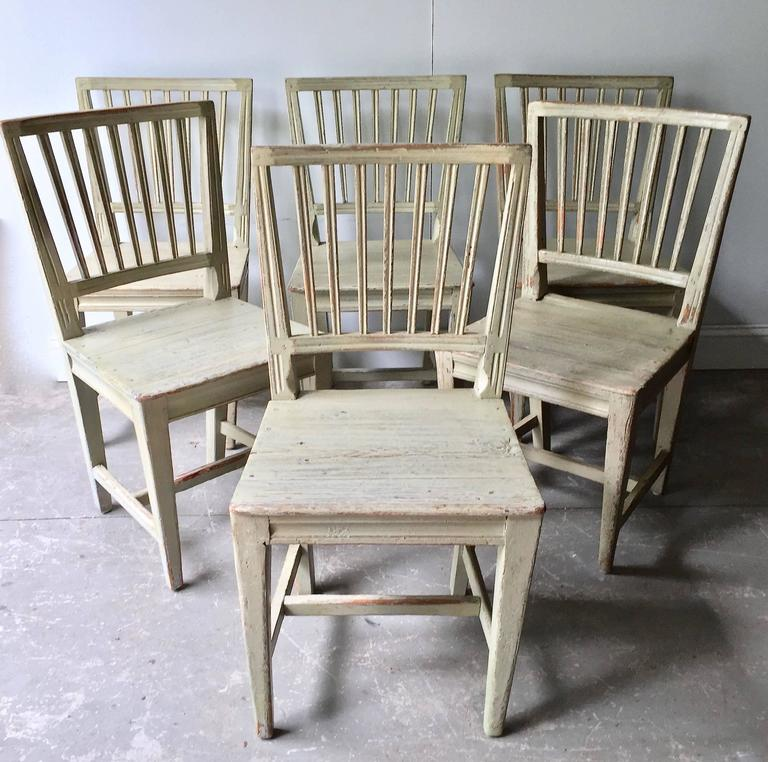 Gustavian Set of Six Swedish 19th Century Side Chairs For Sale