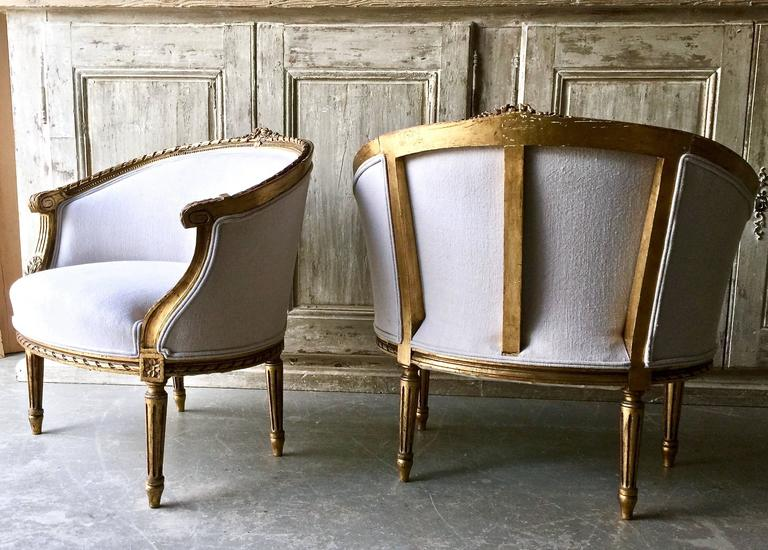 Pair of 19th Century French Louis XVI Style Giltwood Bergères 3