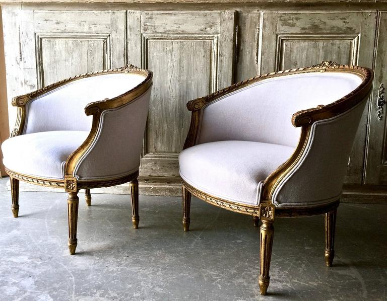 Pair of 19th Century French Louis XVI Style Giltwood Bergères 2
