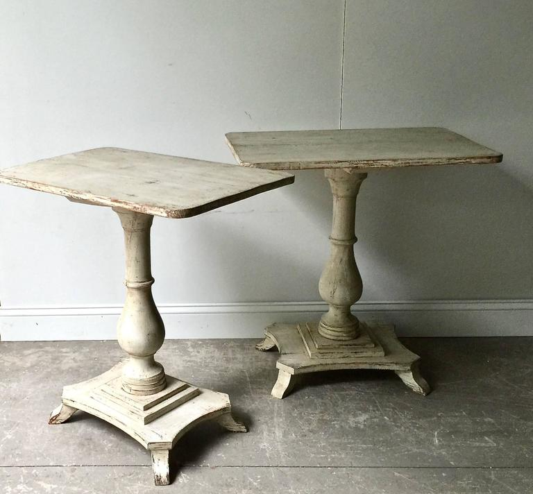 Very rare pair of Swedish Period Karl Johan Pedestals with rectangular shape tops and turned base supported by gracefully shaped pedestal base. Stockholm, Sweden, circa 1830. Here are few examples … surprising pieces and objects, authentic,